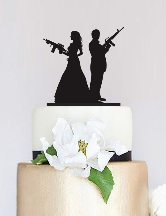 hunting wedding cake toppers canada gun wedding topperarmed silhouette cake topperwedding 16214