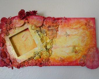 bright mixed media canvas with frame.