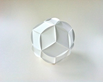 SVG: Rhombic Triacontahedron, spherical paper sculpture, complex paper art project, 3D cutting file