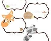 Woodland Label, Forest Animal Friend, Clipart, Scrapbook, Clip Art, Flower, Acorn, Jungle, Fox, Bear, Owl, Butterfly [Instant Download]
