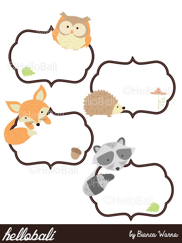 Woodland Label Forest Animal Friend Clipart Scrapbook Clip Art Flower Acorn Jungle Fox