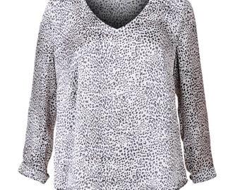 Leopard print blouse, Leopard print shirt, Leopard long sleeve shirt, Oversized loose fitting blouse - size L