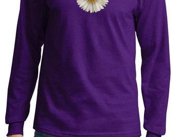 Men's Flower Shirt White Daisy Long Sleeve Tee T-Shirt DAISY-PC61LS