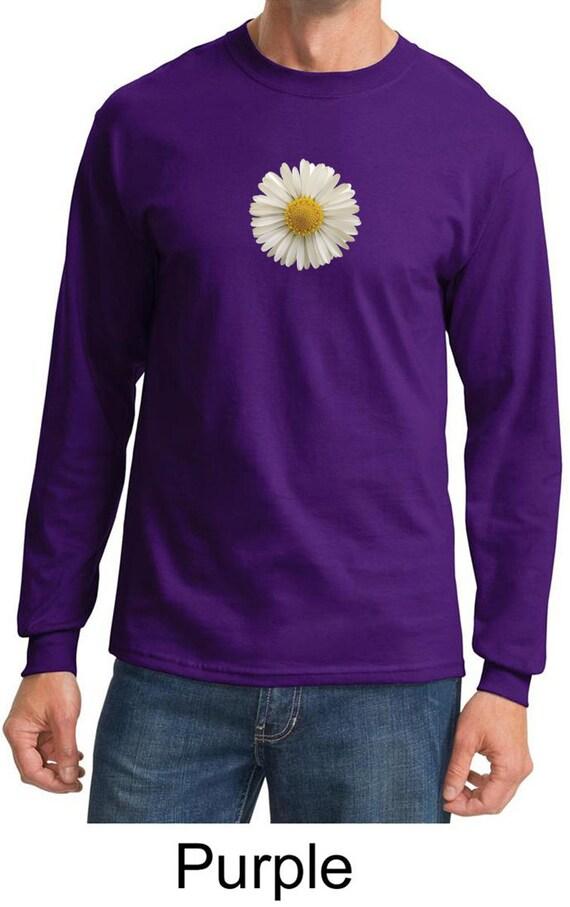 Men 39 s flower shirt white daisy long sleeve tee t shirt for Mens white floral shirt