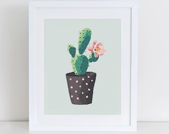 Cactus Print, Cactus Plant Garden Art Print, Home Sweet Home Printable, Instant Download, Home Decor, Garden Home Art Print Printable