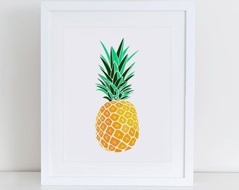 Pineapple Art Print, Printable Pineapple, Pineapple Print,  Instant Download,  Printable Home Decor, Digital Art Print, Tropical Print