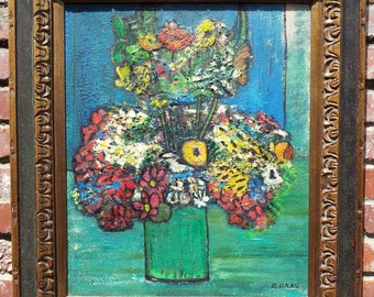 Vintage Original Oil Painting Still Life Bouquet Of Flowers Chagall Style Signed (B. Haas)