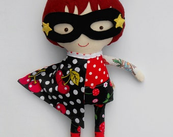 Superhero doll, dress up fabric doll, rockabilly, rag doll, custrom doll, fabric doll, handmade dolls, ragdoll, cloth doll, play set, dolls