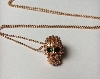 Sterling Silver pink gold platted dot texture skull pendant