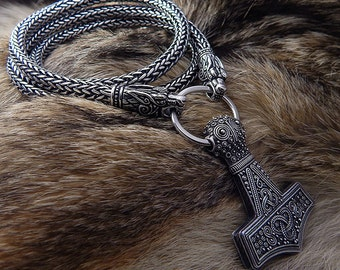 Viking Necklace Thors Hammer. Replica Bredsatra. Thor's Mjöllnir. heads of wolves, ravens, lions or bears. Viking Pendant.