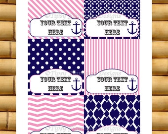 Party Food Tent Cards - Baby, Wedding Shower, Birthday, Party Tags - Fuschia White Blue, Nautical, DIY Customizable, Instant Download-TFD308