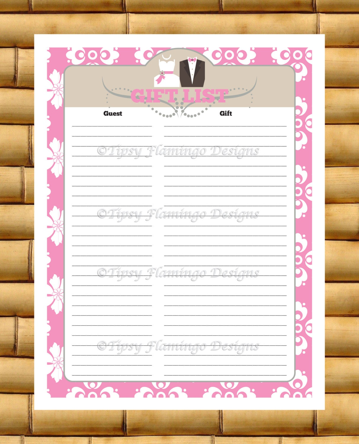 Bridal Shower Gift Record Template : Wedding Shower Gift List Record Gift Registry Bride and