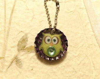 Bottle Cap Owl Key Chain