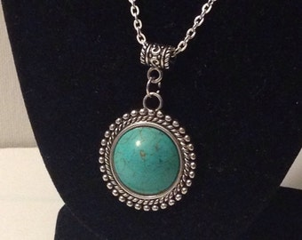 Beautiful Turquoise Pendant with Silver Setting and Chain- Handmade
