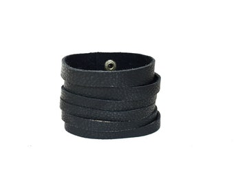 Leather Cuff Bracelet for Women // Black Leather Cuff // Black Leather Bracelet // Leather Jewelry
