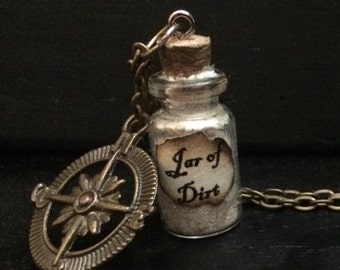 FREE SHIPPING- Jar of Dirt Pirates of the Caribbean bottle necklace