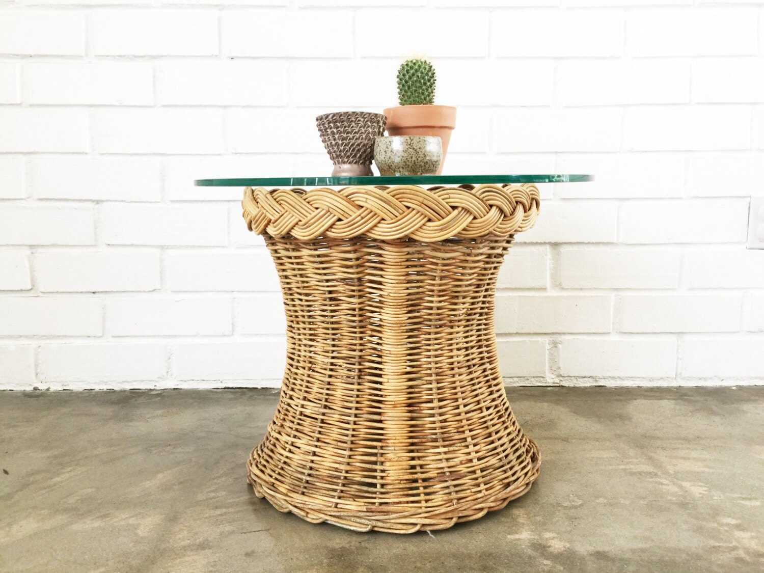 Vintage Rattan Circle Side Table Wicker End Table