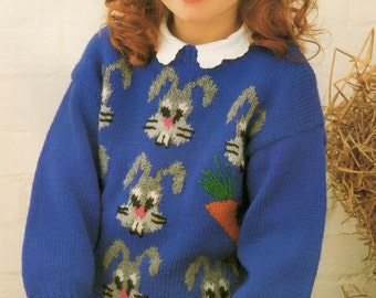 Children's Knitting Pattern Rabbit Sweater 24 - 30 inches