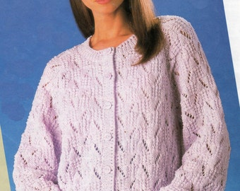 Knitting Pattern Lady's Cotton Crepe DK Cardigan 32 - 42 inches