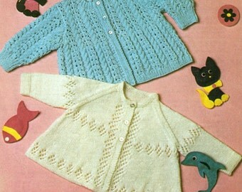 Baby Cardigans Knitting Pattern 18 - 19 inches