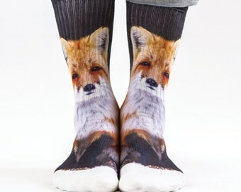 Samson® Fox Hand Printed Socks Sublimation Animals Ginger Quality Print UK
