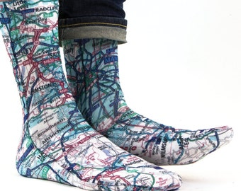 Samson® Manchester City Map Hand Printed Sublimation Socks Quality Print UK