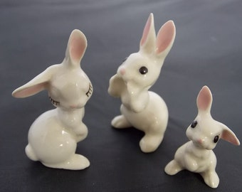 Hagen Renaker Miniature 3 Tiny Rabbit Family Flirty Mama Whispering Papa.