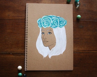 Hand Illustrated Notebook, Blank Journal or Diary-floral wreath