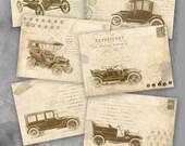 75 % OFF vente Retro voitures - imprimable Télécharger Digital Collage feuille cadeau Tags Retro Greeting Card Vintage image papier atc cartes scrapbooking