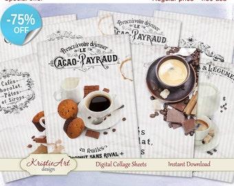 75% OFF SALE Digital Collage Sheet - Cafes & Chocolat Digital Cards C077 Greeting ATC Cards Printable download Aceo digital image cardmaking