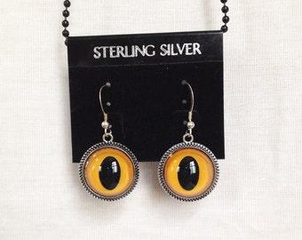 Resin Yellow Cat or Owl Eye Earrings, Cat Eyes, Owl Eyes, Pierced