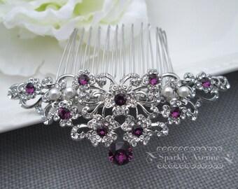Bridal Hair Comb Purple Hair Comb Flower Hair Piece Amethyst Swarovski Crystal Bridal Hair Piece Wedding Hair Accessory Leaf Bridal Clip Lou