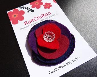 Poppy flower brooch