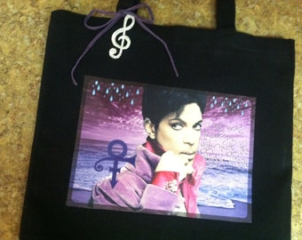 Prince Tote, Prince Rogers Nelson, Musician Prince Bag, Purple Rain Tote, One of a Kind Tote, Original Design, The Artist and Legend Prince
