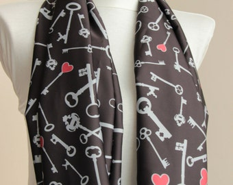 Infinity scarf: Circle Scarf with Love Keys Print in Grey,Red and Black, love keys on balck, scarves wrap, shawl, spring summer fashion