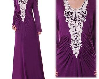 Jersey Abaya Maxi Dress | Purple Maxi Dress Long Sleeve | Long Sleeve Maxi Dress Boho | Plus Size Maxi Dress With Sleeves 2888