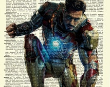 "Iron Man ""The Avengers"" Robert Downey Jr. Upcycled Dictionary Art Print Poster"