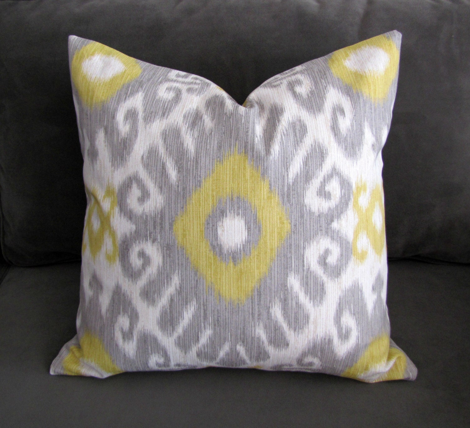 Etsy Yellow Throw Pillow : Ikat Yellow Throw Pillow Gray and Yellow Ikat Print Yellow