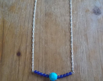 Cobalt and Turquoise Art Deco Necklace