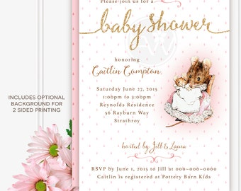 beatrix potter pink hunca munca glitter baby shower custom invitation printable DIY