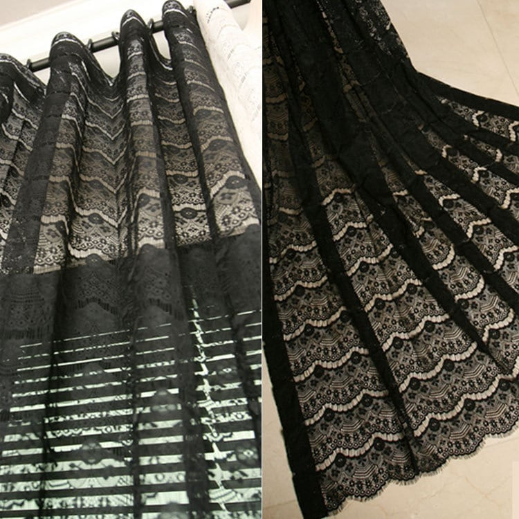 Black lace curtains