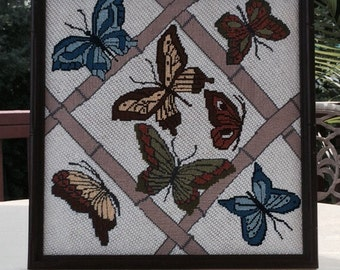 Vintage Butterfly and Bamboo Needlepoint Framed