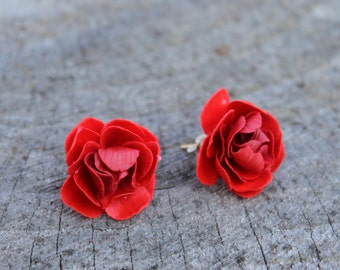 Bright Peony Earrings Studs Posts, Peony Nubile, Summer Jewelry, Bright Red Jewelry, Peony Stud Earrings, Stud Earrings
