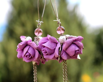 Dangle Earrings - Floral Earrings - Rose Earrings - Violet Rose Earrings - Handmade Polymar Clay Earrings - Gift for her