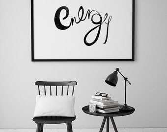 Calligraphy hand lettering print black ink print typography art print black and white art home decor print monochrome poster Larger
