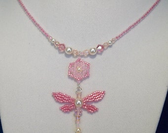 Pink Pearl Dragonfly Necklace