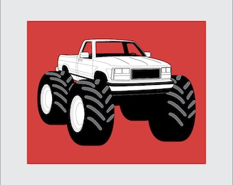 Monster Truck Art Print, 8x10 PRINTABLE, Pickup Truck, Instant Download, Digital