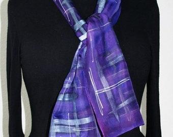 Purple Silk Scarf. Amethyst Hand Painted Silk Shawl.  Handmade Silk Scarf AMETHYST TARTAN. Size 8x54. Birthday Gift, Bridesmaid Gift