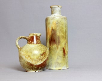 Mid Century Set of 2 RUSCHA KERAMIK Vases - West German Pottery - Fat Lava Era