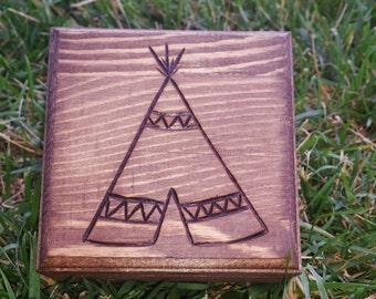 SALE! Teepee Wood Burned Box
